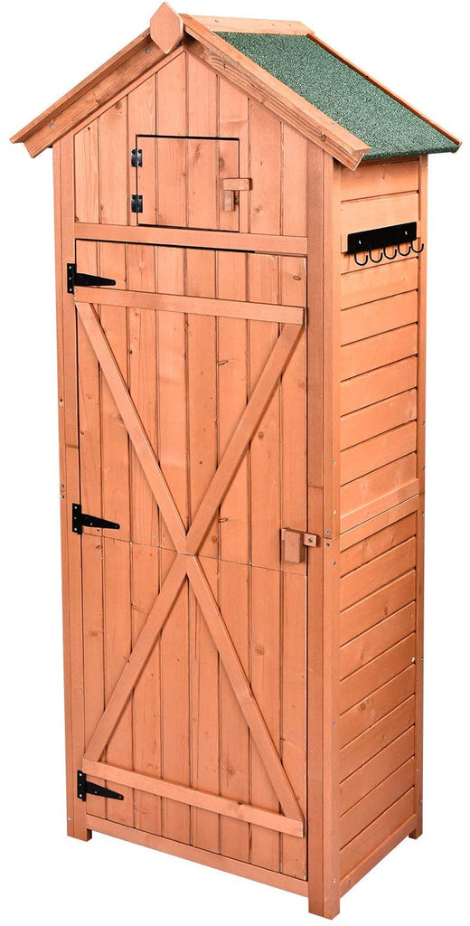 HooWii Outdoor Wooden Storage Shed , Garden Tool Storage Cabinet with Fir  Wood Lockers, Tall Waterproof Storage Tool Shed for Home, Garden, Outdoor
