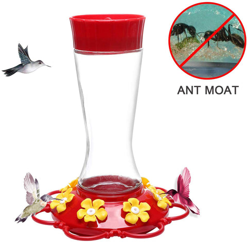 Don Hamilton Hummingbird Feeder,Glass Hummingbird Feeders with Ant Moat for Outdoors,20 Ounce (Large)