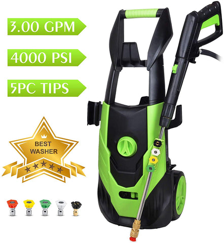 WATTY 4000 PSI 3.0 GPM 1800W Electric Pressure Washer, Electric Power Washer, 5 Quick-Connect Spray Tips, Power Wash Machine,Cleaning Assistant Helpful Helper for Household Cleaning Tasks