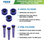 VEVA 6 Pack Premium Vacuum Filter Set with 3 Pre Filters and 3 HEPA Filters Compatible with Dyson V6 Absolute Vacuums, Part # 965661 & 966741