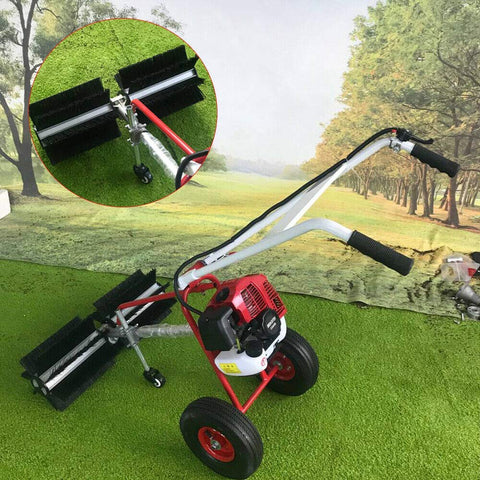 TFCFL 43CC Gas Powered Walk Behind Snow Sweeper Power Brush Sweeper Broom Hand Held Concrete Cleaning Driveway