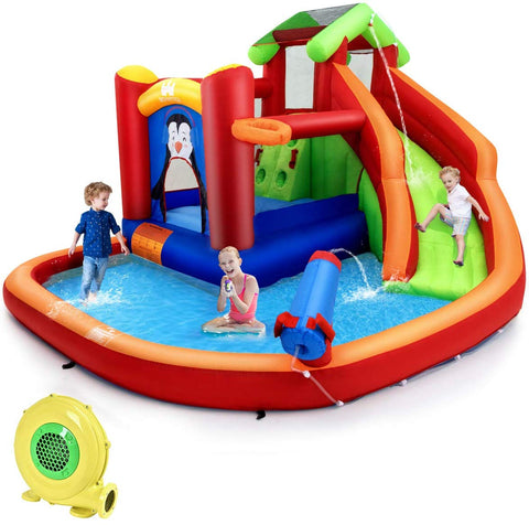 BOUNTECH Inflatable Water Slide, 6 in 1 Jumping Bounce House w/ Climbing Wall, Splash Pool, Water Cannon, Basketball Rim, Including Oxford Carry Bag, Repair Kit, Stakes, Hose (with 680W Air Blower)