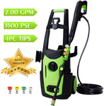 WATTY 3500 PSI 2.0 GPM Electric Pressure Washer, Electric Power Washer, 4 Quick-Connect Spray Nozzles, Power Wash Machine