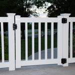 "29"" to 34"" Wide X 36"" High White Vinyl Picket Gate - Deck - Porch - Garden Gate"