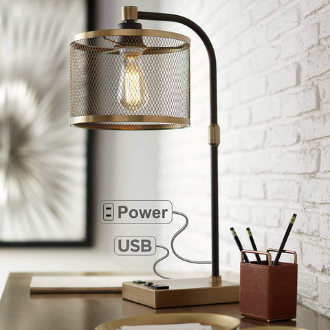 Todd Modern Table Lamp with Hotel Style USB and AC Power Outlet in Base Steel Open Rectangle White Shade for Bedroom Office - 360 Lighting