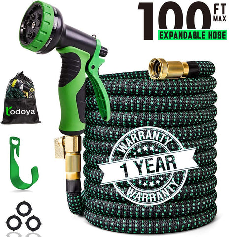 VIENECI 100ft Garden Hose Upgraded Expandable Hose, Durable Flexible Water Hose, 9 Function Spray Hose Nozzle
