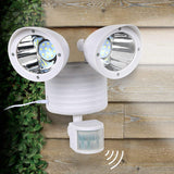 White Dual Security Detector Solar Spot Light Motion Sensor Outdoor 22 LED Floodlight Sensor Spot Light Super Bright Led Provide 150 Lumen Intensity Twin Head Solar Security Light