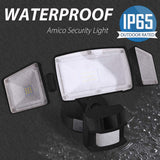 Amico 3500LM LED Security Lights, 40W Super Bright Outdoor Motion Sensor Light, 5000K, IP65 Waterproof, 3 Adjustable Heads & ETL Certified Motion Activated Flood Light for Entryways, Yard