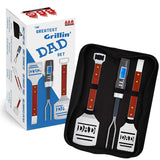 Dad BBQ Grill Set with Carry Case - 4-Piece Includes Spatula, Tongs, Digital Thermometer and Case - Great Gift for Father's Day by AMZ BBQ CLUB