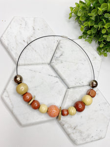 Wood Charms Wire Necklace