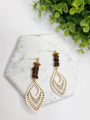 Wood Pieces with Hematite Stones Earrings