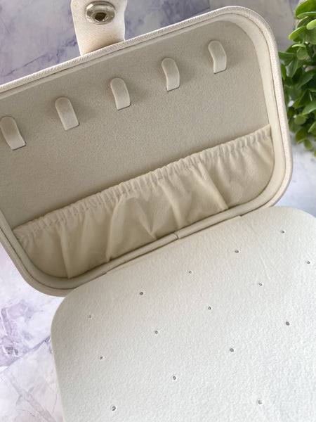 Sparkling White Travel Size Jewelry Box