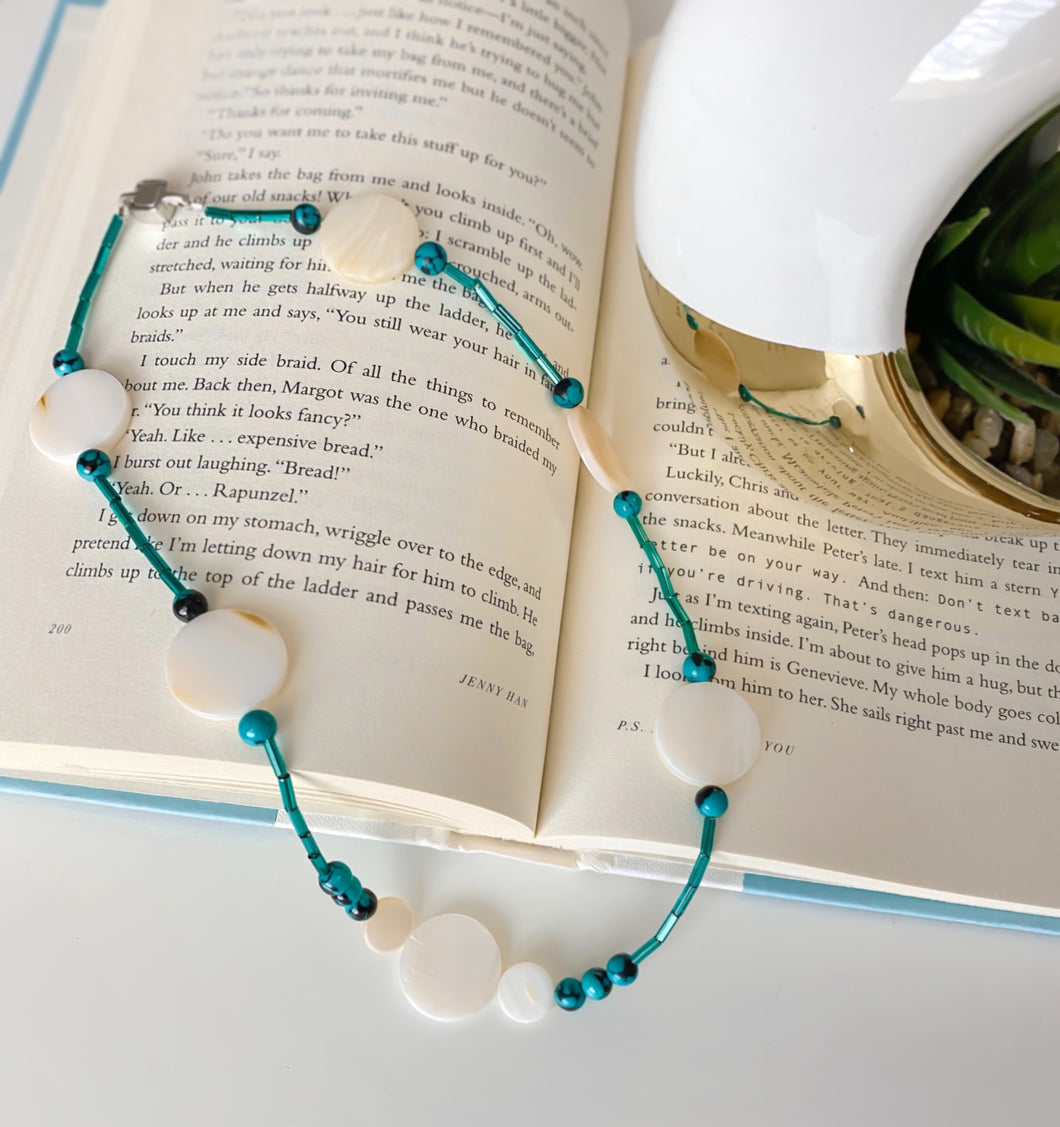 Turquoise Beads & Natural Shells Necklace