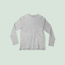Load image into Gallery viewer, Minimal Full Sleeve Melange Grey T-shirt