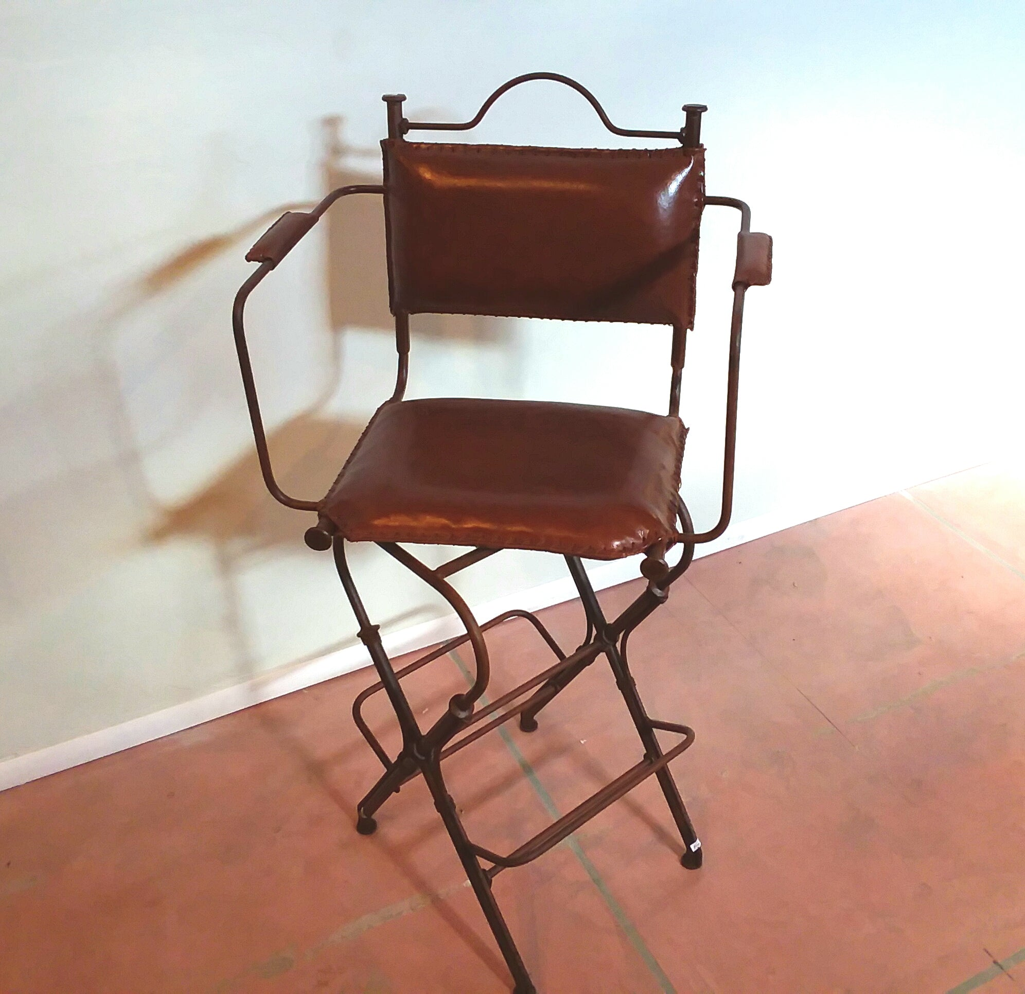 Metal Chair with Leather Designed Back rest