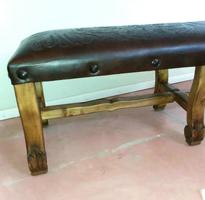 Wood Bench with Leather Designed seat