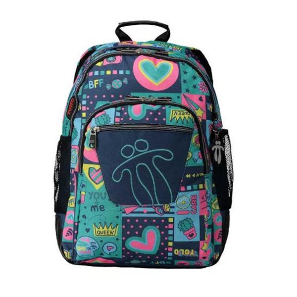 School Bag Queen Totto Crayoles Green (44 X 33 x 14 cm)