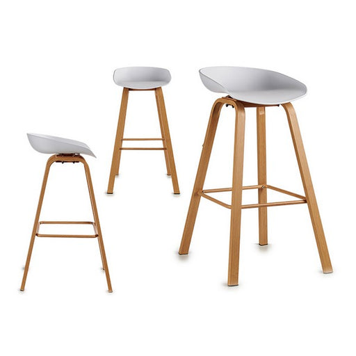 Stool White Plastic Wood (52 x 86 x 47 cm)