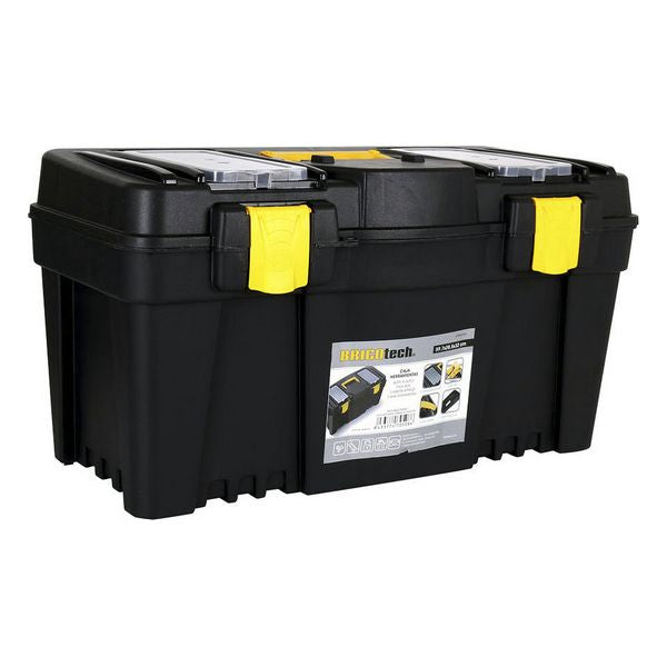 Toolbox with Compartments Bricotech Black Yellow (59,7 x 28,5 x 32 cm)