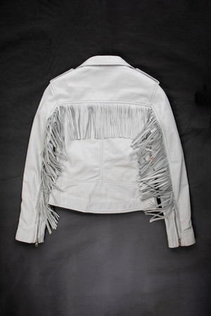 White leather tassel biker jacket