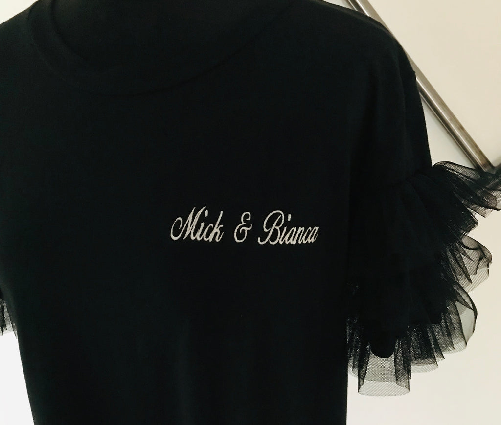 'Couples' Embroidered tee 'Mick and Bianca'