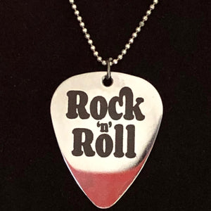 Rock 'n' Roll Guitar pick necklace.