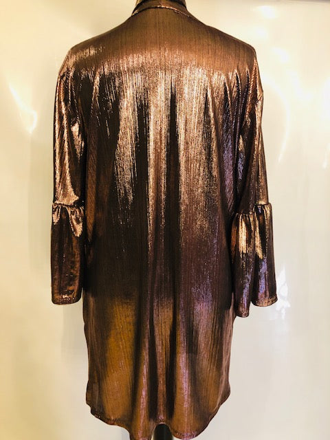 Metallic Eva bell sleeved cover up - with matching skinny scarf/belt