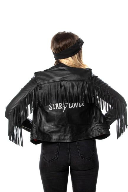 Black Tassel leather biker jacket