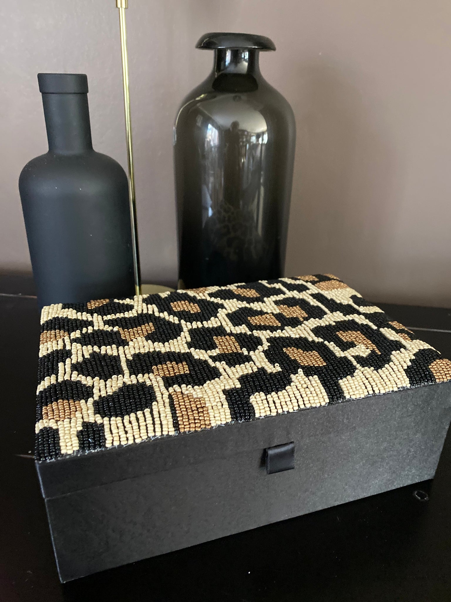 Beaded leopard print trinket box