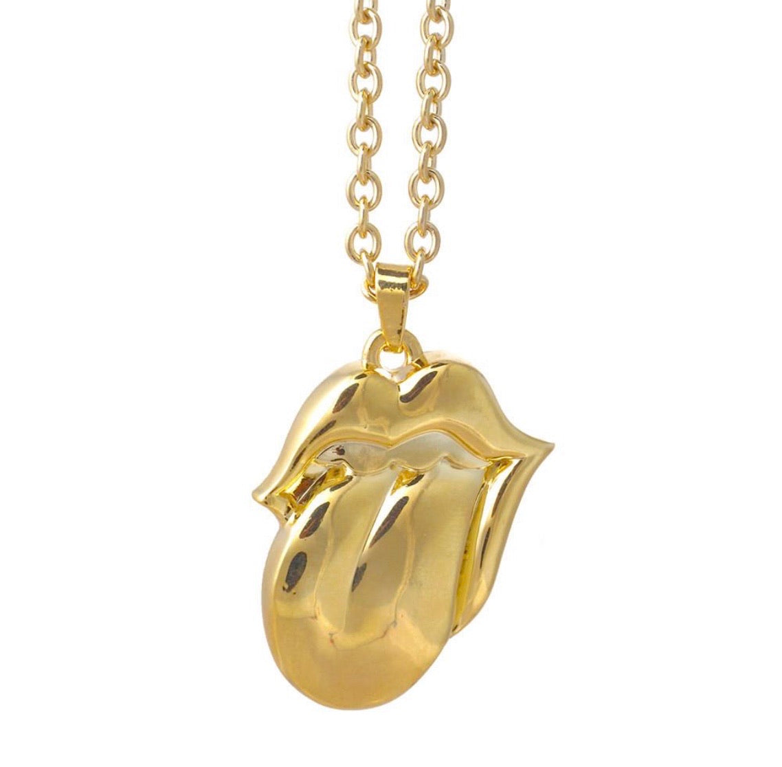The Rolling Stones necklace-Gold Tongue