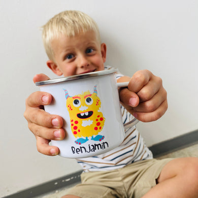Kinderbecher mit Namen - Tasse Emailletasse Kindertasse Becher personalisiert - Jungs Monster