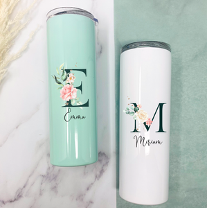 Thermobecher 500 ml personalisiert - weiß oder mint - florales Initial - Design PEONY