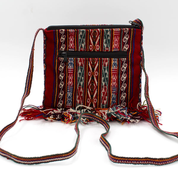 Small Chuspa Crossbody - Red with Multicolor patterns and fringe