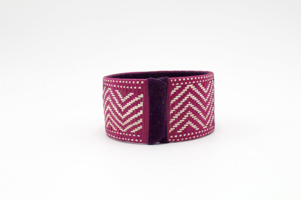 Purple and White Chevron - Medium Cuff Caña Flecha Bracelet