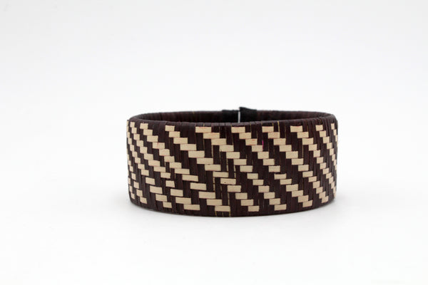 Black and White Vueltiao Style - Medium Cuff Caña Flecha Bracelets (Set of Three)