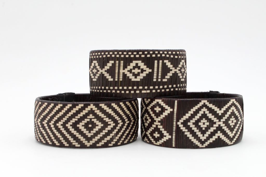 Black and White Geometric Style - Medium Cuff Caña Flecha Bracelets (Set of Three)