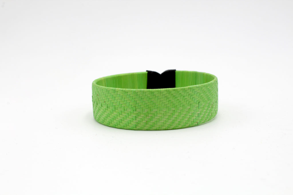 Bright Green Pattern on Pattern - Small Cuff Caña Flecha Bracelet