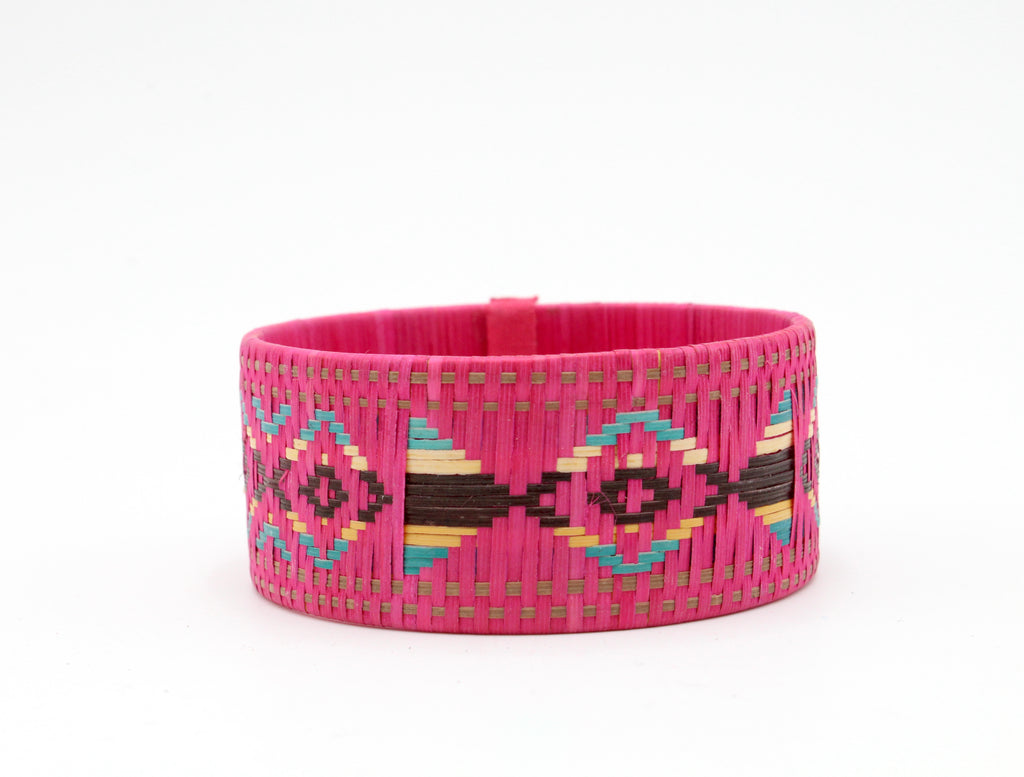 Pink With Multi-Color Pattern - Medium Cuff Caña Flecha Bracelet