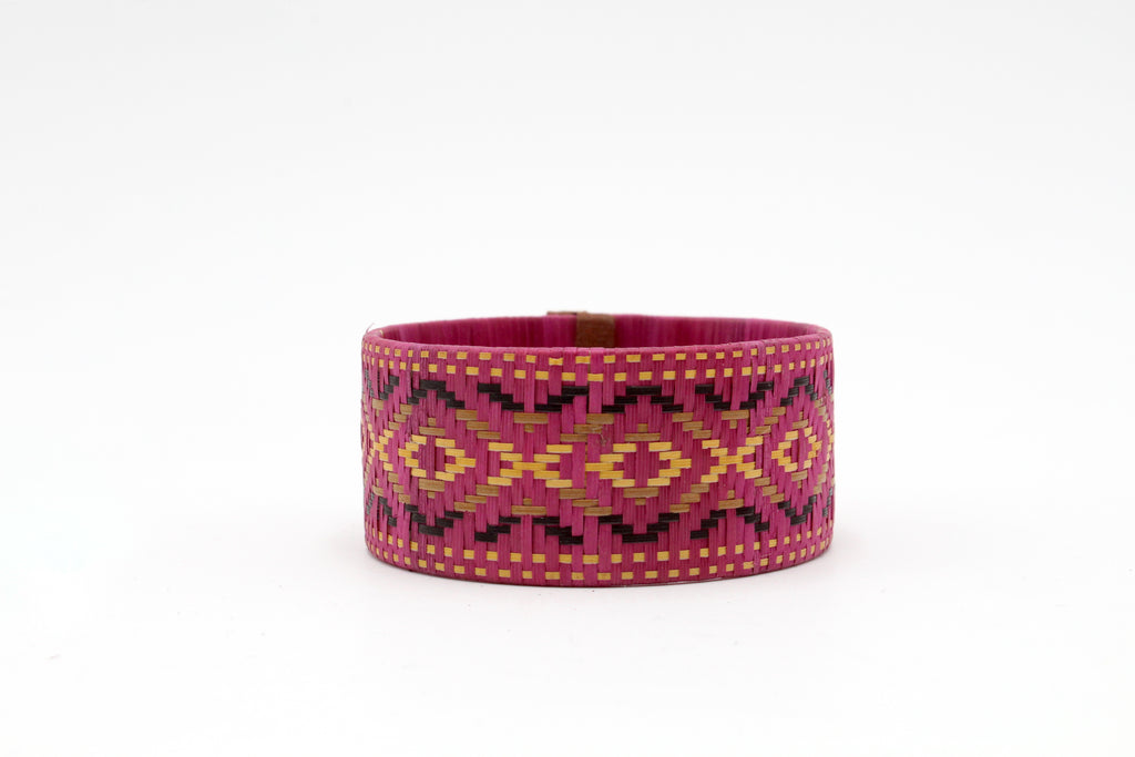 Dark Pink with Multi-Color Geometric Pattern - Medium Cuff Caña Flecha Bracelet