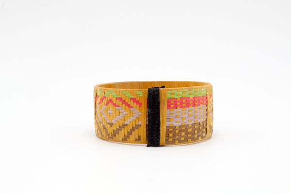 Yellow with Diamonds and Checkers - Medium Cuff Caña Flecha Bracelet