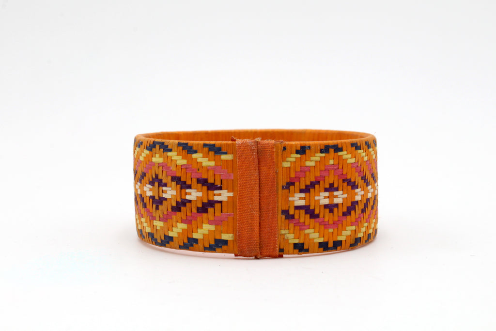 Dark Yellow with Multi-Color Geometric Pattern - Medium Cuff Caña Flecha Bracelet