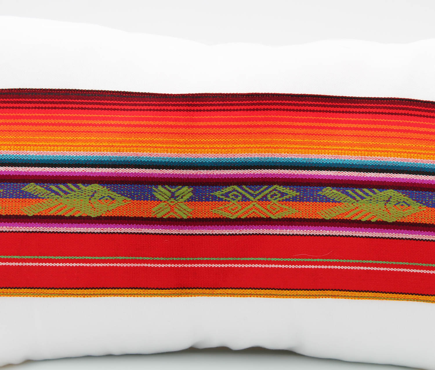 El Mar Pillow Collection: Red Multi-Color Small Lumbar with Green Fish and Red Pom Poms