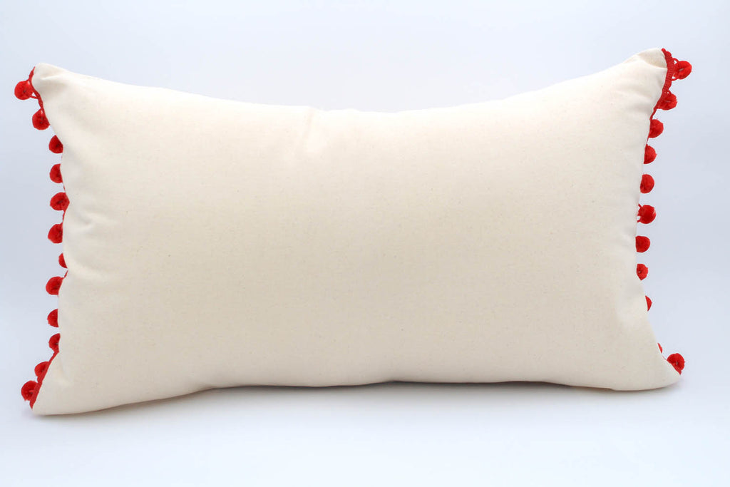 El Mar Pillow Collection: Natural with Red Pom Poms