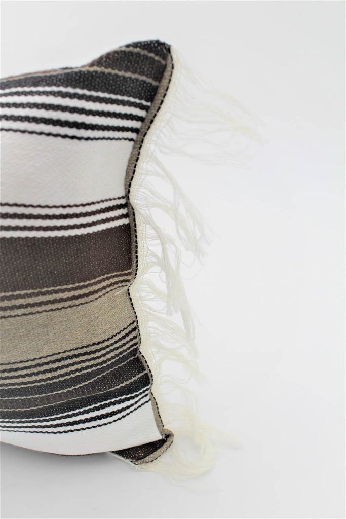 La Playa Pillow Collection: Brown Stripes with White Fringe Small Lumbar