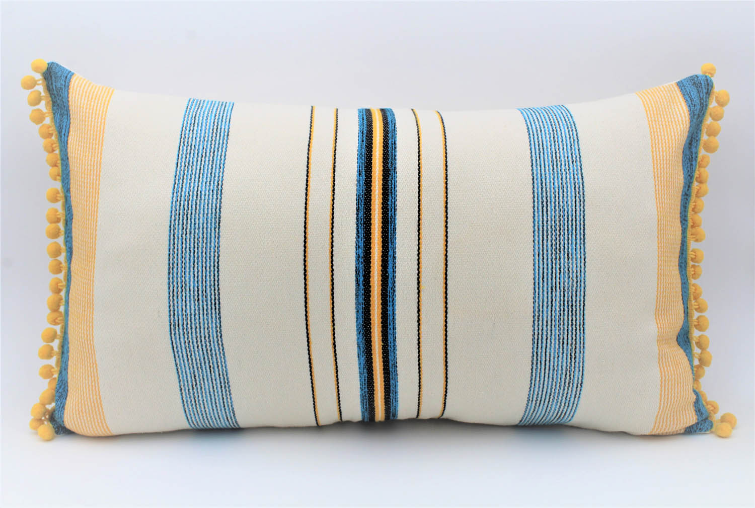 La Playa Pillow Collection: Yellow and Blue Stripes with Yellow Pom Poms Small Lumbar