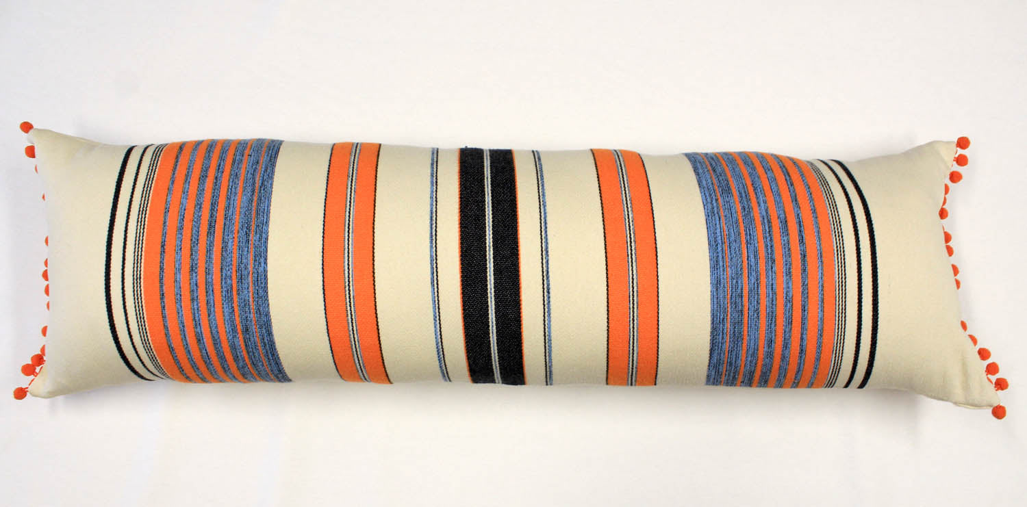 La Playa Pillow Collection: Orange and Blue Stripes with Orange Pom Poms Large Lumbar