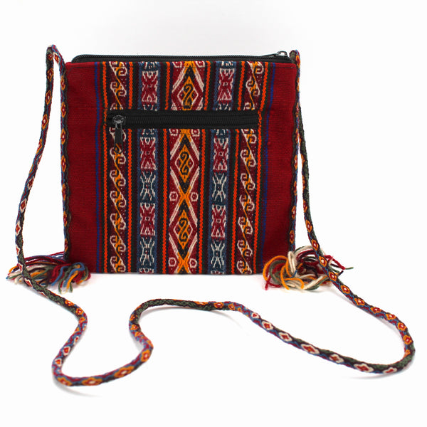 Small Chuspa Crossbody - Red with Multicolor patterns and braided strap