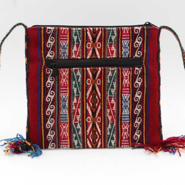 Small Chuspa Crossbody - Red with Multicolor patterns