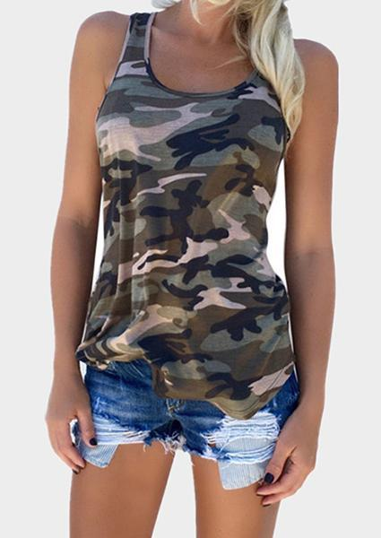 Camouflage Off Shoulder Tanks