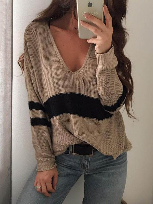 Striped V-Neck Long Sleeve Sweaters